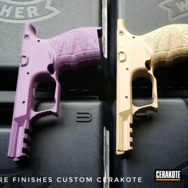 "Thumbnail image for project ""Walther CCP Frames in Cerakote Desert Sand and Wild Purple"""