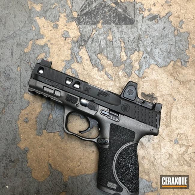 Cerakoted: Frame,Smith & Wesson,Smith & Wesson M&P,Pistol,Hand Stippled,Gun Coatings,Tactical Grey H-227,Handguns,Defkon3