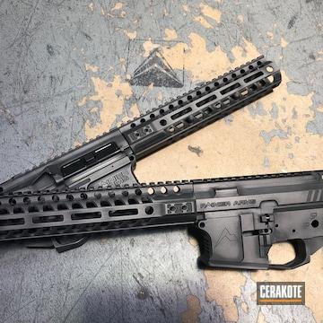 Cerakoted Rainier Arms Upper / Lower / Handguard In Cerakote Tungsten And Armor Black