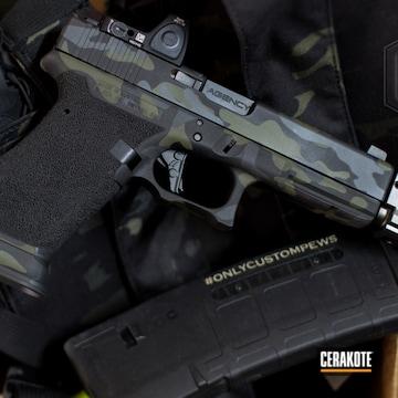 Cerakoted Glock 17 Handgun In A Multicam Black Finish