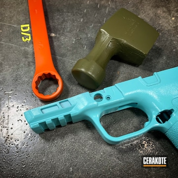 Cerakoted H-175 Robin's Egg Blue, H-189 Noveske Bazooka Green And H-128 Hunter Orange