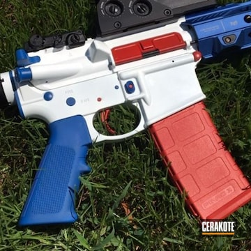 Cerakoted H-167 Usmc Red, H-171 Nra Blue And H-297 Stormtrooper White