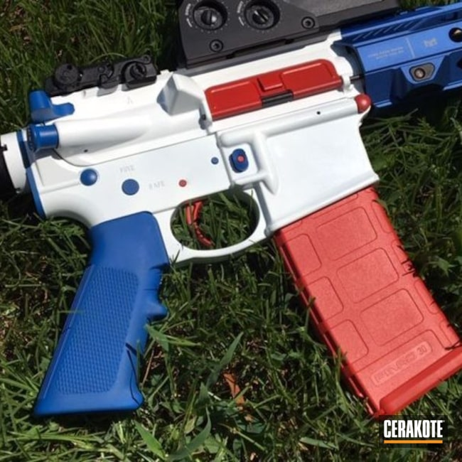 Cerakoted: Patriotic,NRA Blue H-171,USA,Smith & Wesson,Stormtrooper White H-297,USMC Red H-167,Tactical Rifle,Gun Coatings,5.56,AR-15
