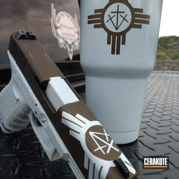 Cerakoted Matching Glock Handgun And Tumbler Cup
