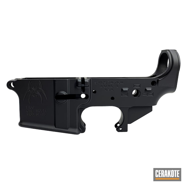 Cerakoted: AR Lower Receiver,Lower,Solid Tone,Armor Black H-190,Gun Coatings,AR-15