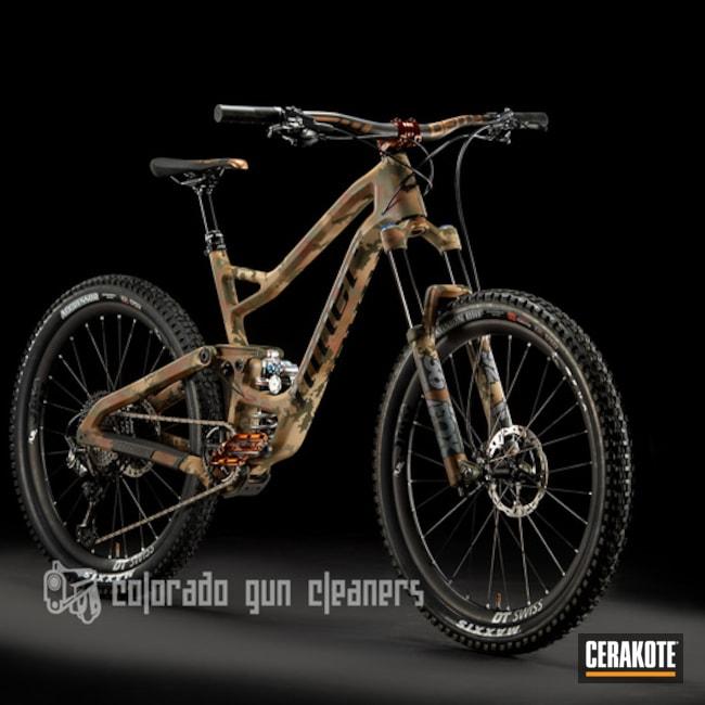 Cerakoted: Bike Frame,Mountain Bike,Custom Bike,Bicycle,MCMILLAN® TAN H-203,Federal Brown H-212,Patriot Brown H-226,More Than Guns,Bicycles