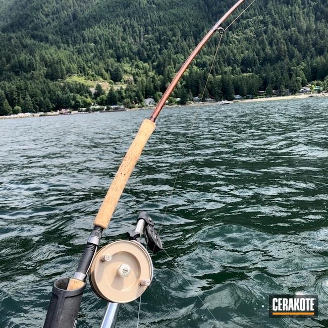 Cerakoted: Fishing,Gloss Black H-109,MCMILLAN® TAN H-203,Burnt Bronze H-148,More Than Guns,Saltwater Fishing Reel,Outdoors,Fishing Reel,Gold H-122
