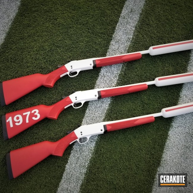 Cerakoted: Bright White H-140,FIREHOUSE RED H-216,boomer,OU Shotgun,Gun Coatings,Sooners,University of Oklahoma