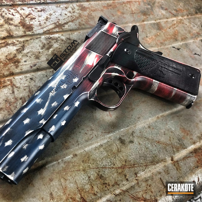 Cerakoted: Springfield 1911,BLACKOUT E-100,Snow White H-136,Distressed American Flag,USMC Red H-167,America,Pistol,American Flag,KEL-TEC® NAVY BLUE H-127,Springfield Armory,Gun Coatings,1911