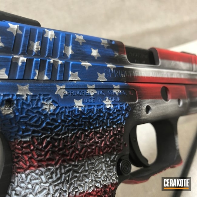 Mobile-friendly version of the 7th project picture. Graphite Black H-146Q, Springfield, Distressed, American Flag, Pistol, Springfield XD, Ridgeway Blue H-220Q, USMC Red H-167Q, Bright White H-140Q, Texas Flag, Distressed American Flag, Gun Coatings, Arkansas Flag, 3 flags 1 pistol