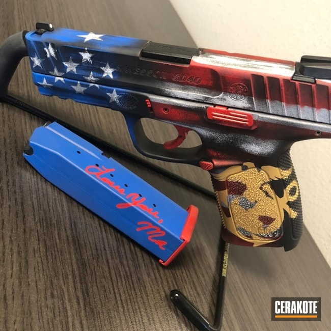 Big version of the 1st project picture. Graphite Black H-146Q, Smith & Wesson, Marine Corp Logo, American Flag, Pistol, Ridgeway Blue H-220Q, USMC Red H-167Q, Bright White H-140Q, Gold H-122Q, Marines, Texas Flag, Distressed American Flag, Distressed Texas Flag, 2 flags 1 pistol, Gun Coatings