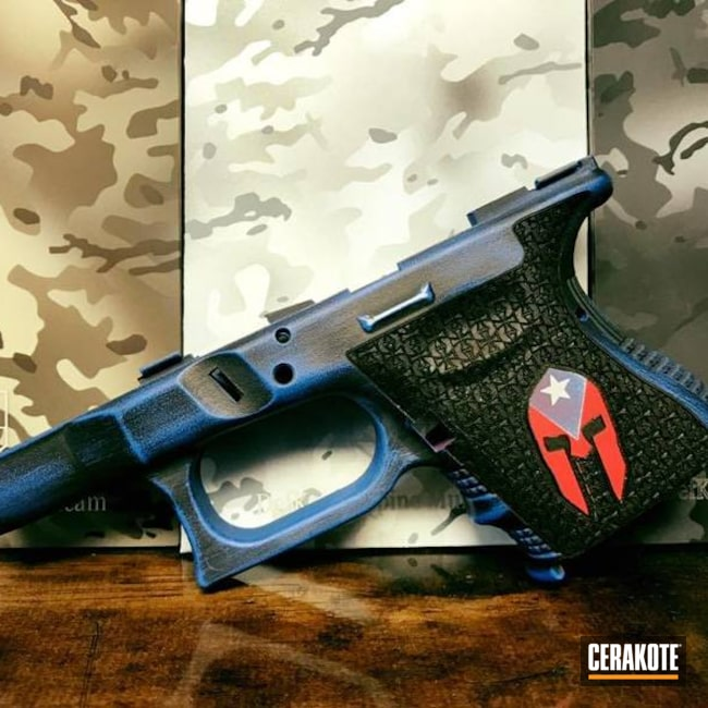 Smaller version of the 1st project picture. Frame, Battleworn, Armor Black H-190Q, NRA Blue H-171Q, Glock Frame, Gun Coatings