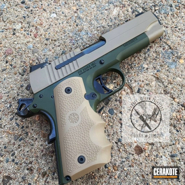 Sig Sauer 1911 Handgun with Cerakote H-267 MagPul Flat Dark Earth