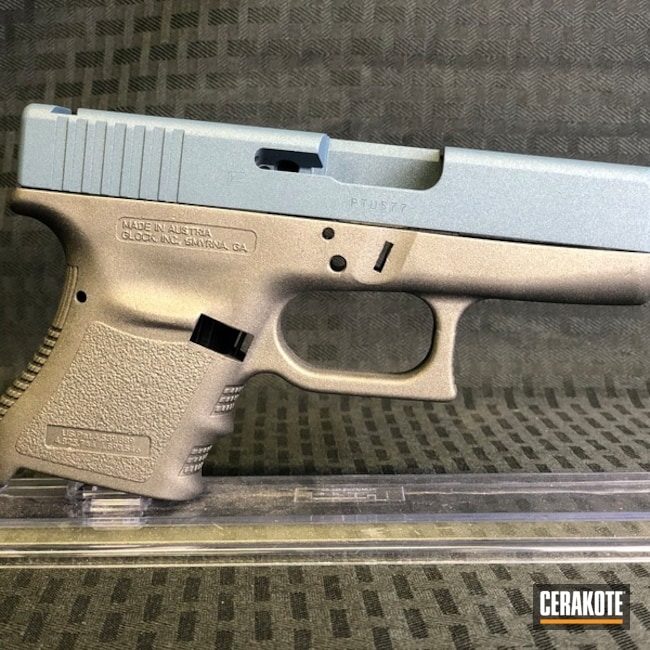 Two Toned Glock Handgun in H-185 Blue Titanium and H-237 Tungsten