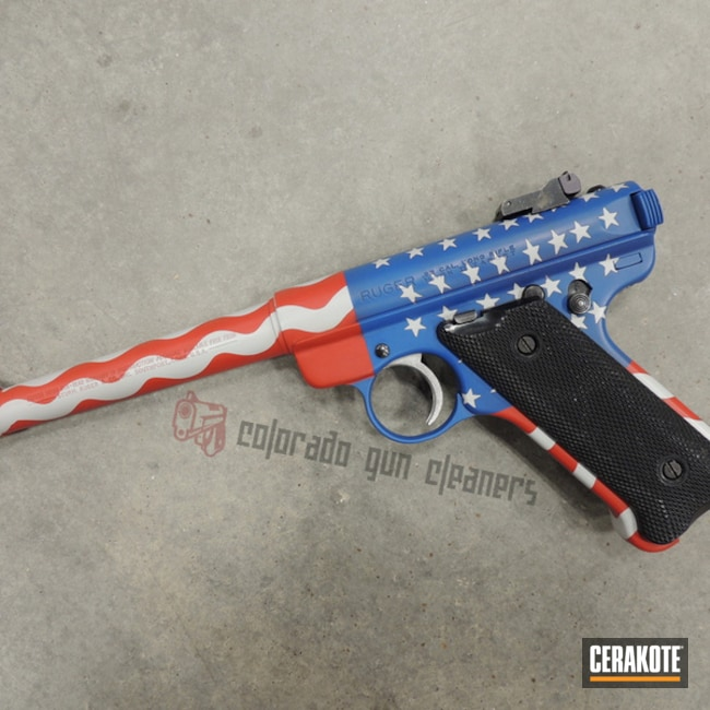Cerakote American Flag Finish on this Ruger MK Handgun