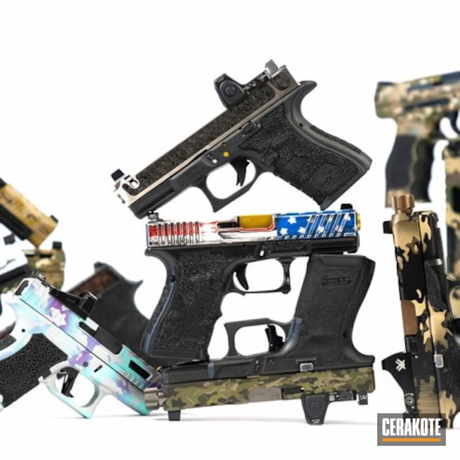 Cerakoted: MultiCam,Armor Black H-190,American Flag,Gun Coatings,Pistols
