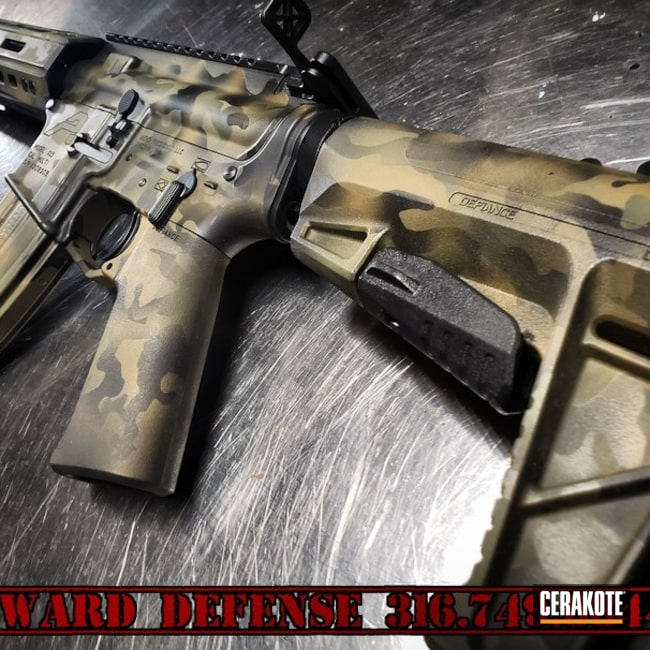 Cerakoted: Aero Precision,450 Bushmaster,MultiCam,Armor Black H-190,Tactical Rifle,Gun Coatings,AR-15