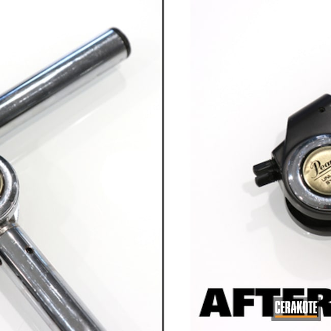 Before and After of Pearl Drum Parts in Elite Blackout