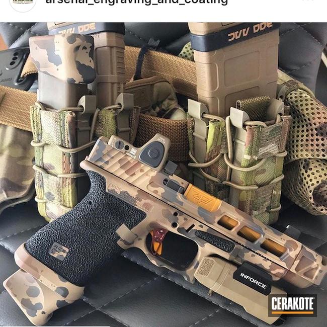 Cerakoted: Desert Sand H-199,Pistol,Glock,Outcrop Camo,Arid,Gun Coatings,Flat Dark Earth H-265,Copper Brown H-149