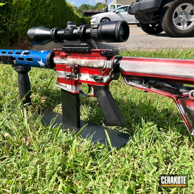 Mobile-friendly version of the 1st project picture. Graphite Black H-146Q, American Flag, Tactical Rifle, Stars, USMC Red H-167Q, Bright White H-140Q, NRA Blue H-171Q, Stars and Stripes, 50 Beowulf, 1776, We the people, Gun Coatings