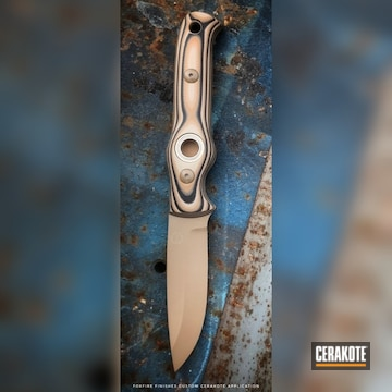 Cerakoted Fixed-blade Knife Cerakoted In E-170 Coyote M17
