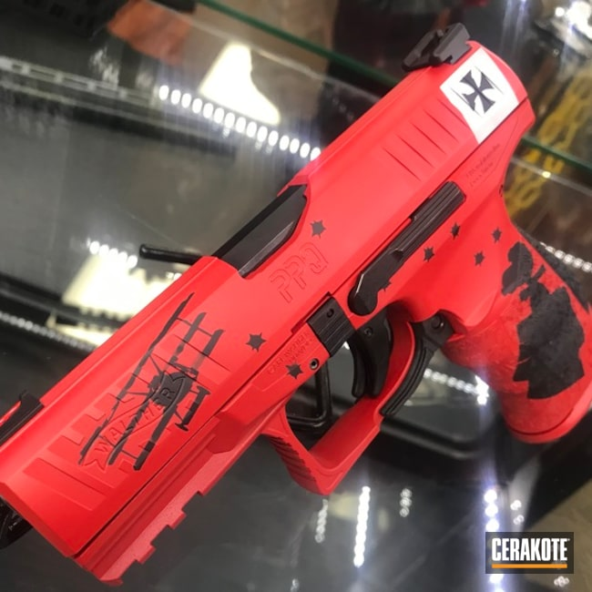 Cerakoted: Shimmer Aluminum H-158,Snoopy,Walther,Walther PPQ,Gen II Graphite Black HIR-146,USMC Red H-167,Pistol,Gun Coatings,Red Baron