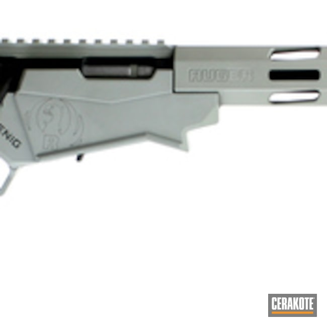Cerakoted: Bolt Action Rifle,Ruger Precision Rimfire,Ruger,Graphite Black H-146,Rimfire,Ruger RPR,Bull Shark Grey H-214,Gun Coatings