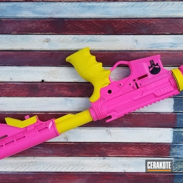 Cerakoted H-166 Electric Yellow And H-141 Prison Pink