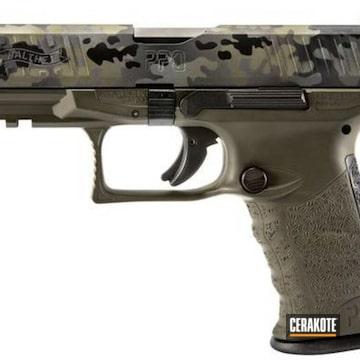 Cerakoted Walther Handgun With A Cerakote Flecktarn Camo