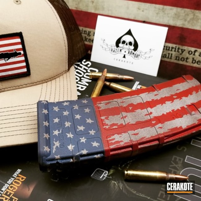 American Flag Cerakote Finish on this PMAG Magazine