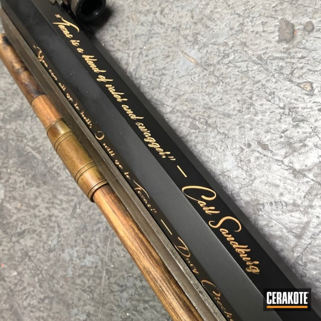 Mobile-friendly version of the 1st project picture. Graphite Black H-146Q, Laser Engrave, Color Fill, Rifle, Muzzle Loader/Black Powder, Gold H-122Q, Black Powder, San Antonio Laser Engraving, Texas Theme, Gun Coatings, Musket