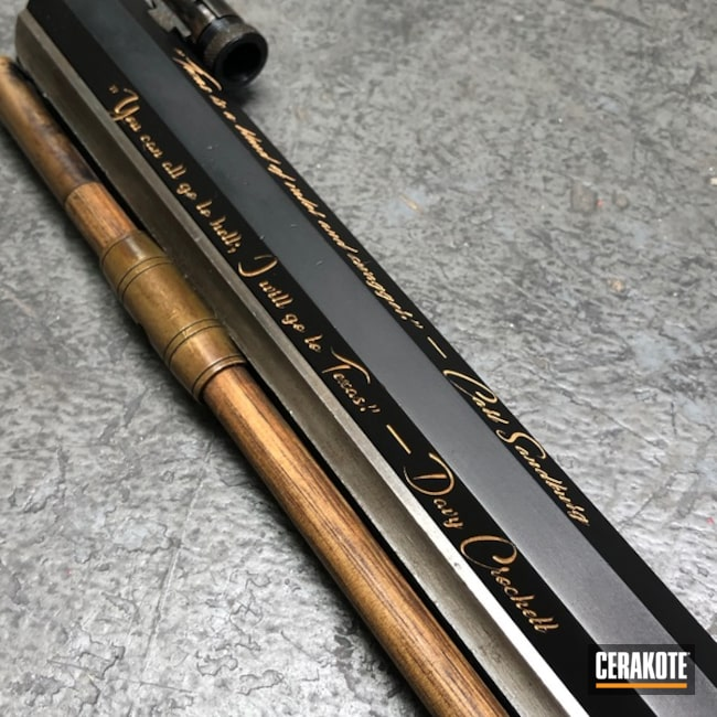 Smaller version of the 2nd project picture. Graphite Black H-146Q, Laser Engrave, Color Fill, Rifle, Muzzle Loader/Black Powder, Gold H-122Q, Black Powder, San Antonio Laser Engraving, Texas Theme, Gun Coatings, Musket