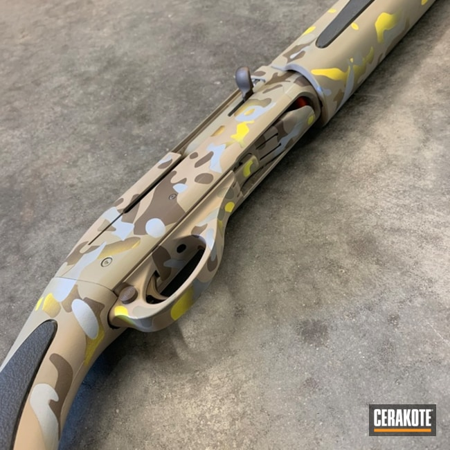 Cerakoted: SHOT,Corvette Yellow H-144,Desert Sage H-247,MultiCam,Shotgun,Snow White H-136,Desert Sand H-199,Gun Coatings,Flat Dark Earth H-265