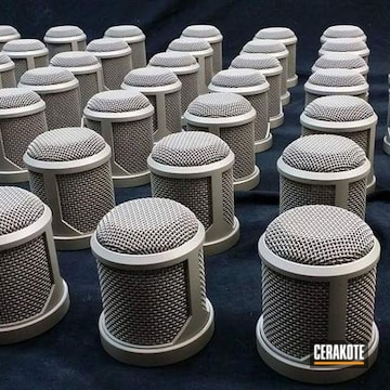 Cerakoted Microphone Grilles Finished With H-158 Shimmer Aluminum