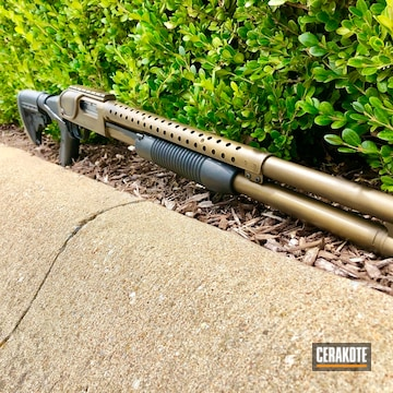 Cerakoted Mossberg Shotgun With Distressed Bronze And Black Cerakote Finish
