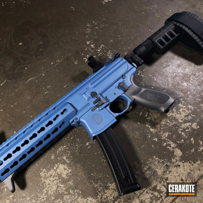 Cerakoted: S.H.O.T,MPX,NRA Blue H-171,Two Tone,Tactical Rifle,Sig Sauer,Gun Coatings,Tactical Grey H-227,Sig MPX