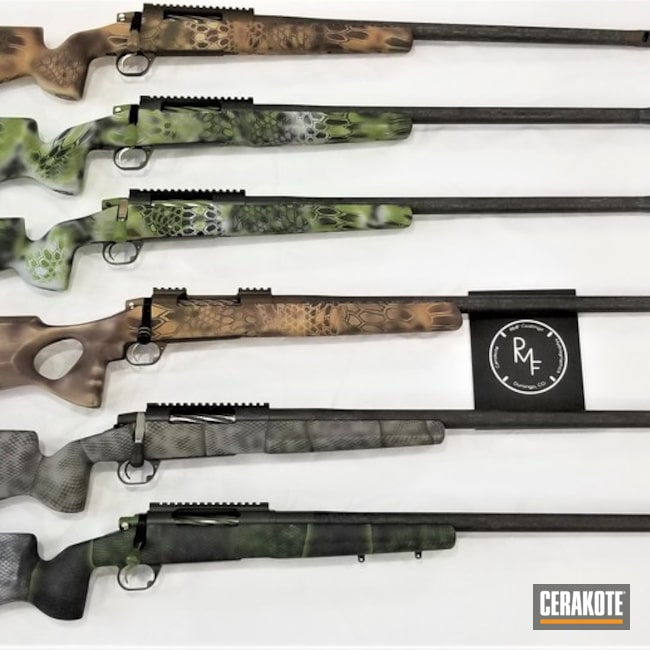 Smaller version of the 1st project picture. Graphite Black H-146Q, Custom Camo, Bolt Action Rifle, Highlander Kryptek, SHOT, Desert Sand H-199Q, Zombie Green H-168Q, Battleship Grey H-213Q, Steel Grey H-139Q, Matte Brown H-7504MQ, Mil Spec O.D. Green H-240Q, Midnight Bronze H-294Q, Vortex Bronze H-293Q, Altitude Kryptek, RMP Rifles, Gun Coatings