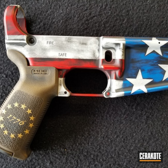 American Flag Cerakote Finish on this AR Lower Receiver