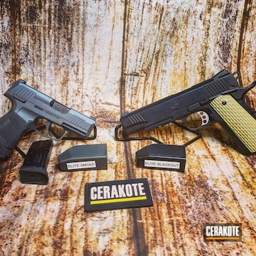Cerakoted Kimber Handgun In E-100 Blackout And Sig Sauer Handgun In E-120 Smoke