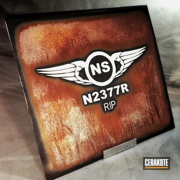 Cerakoted Rustic Metal Art And Custom Cerakote Lettering / Logo