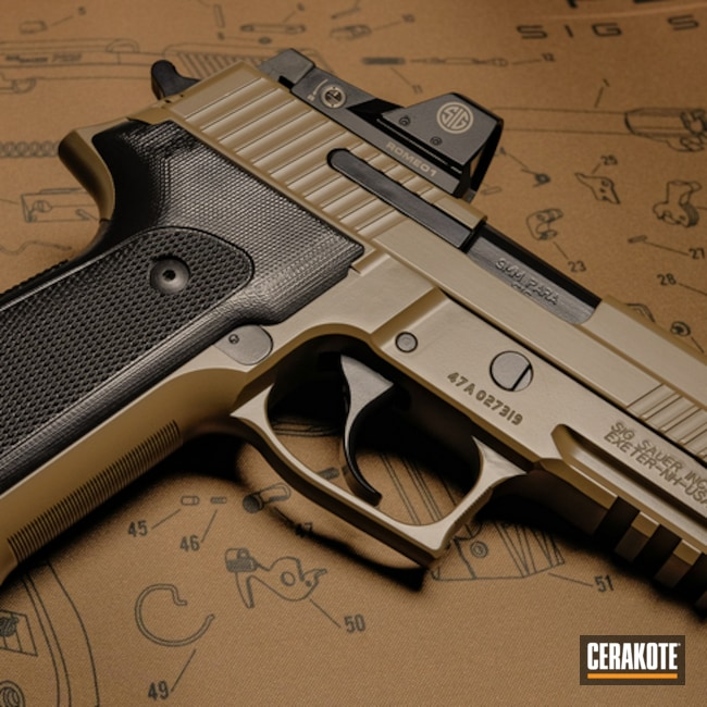 Cerakoted: S.H.O.T,Sig Sauer P226,BLACKOUT E-100,Two Tone,FDE E-200,Pistol,Sig Sauer,Gun Coatings