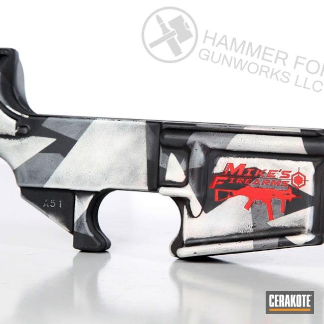Cerakoted: S.H.O.T,SPRINGFIELD® GREY H-304,AR Lower Receiver,Lower,Battleworn,Battleforged,Snow White H-136,Graphite Black H-146,USMC Red H-167,Splinter Camo,Gun Coatings,Laser Engrave