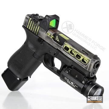 Cerakoted Laser Engraved And Battleworn Glock 19 Handgun