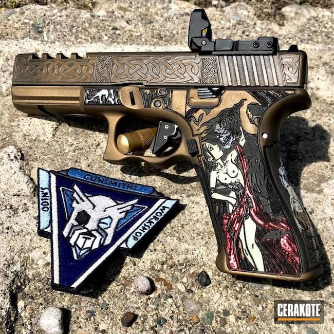 Custom Laser Stippled and Cerakoted Glock 17 Handgun