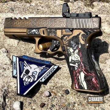 Cerakoted Custom Laser Stippled And Cerakoted Glock 17 Handgun
