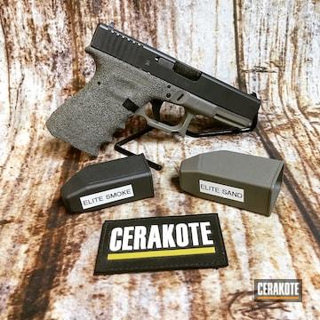 Cerakoted Glock 19 Handgun With Cerakote E-150 Sand And E-120 Smoke
