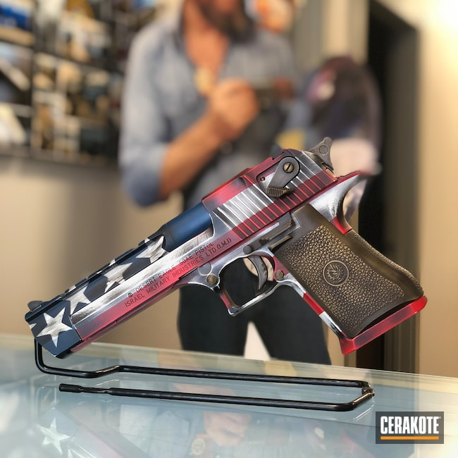 "Thumbnail image for project ""Desert Eagle with a Cerakote Battleworn American Flag Finish"""