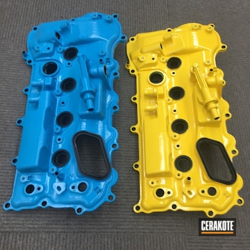 Cerakoted H-144 Corvette Yellow, H-169 Sky Blue And Mc-156 High Gloss Ceramic Clear