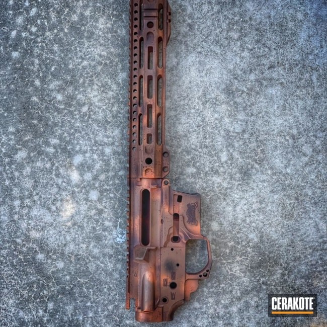 Cerakoted: SHOT,Palmetto State Armory,AR Pistol,COPPER SUEDE H-310,Graphite Black H-146,Upper / Lower / Handguard,Burnt Bronze H-148,Gun Coatings,Rust,AR-15