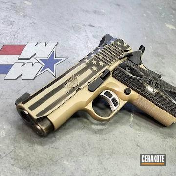 Cerakoted Kimber 1911 Handgun And A Cerakote Distressed American Flag Finish